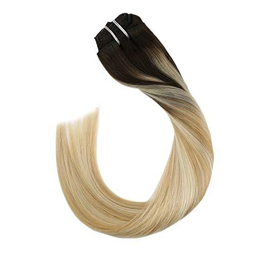 Ugeat 100 Echthaar Clip in Extensions Remi Real Human Hair Balayage Ombre Braun bis Karamellblond und Platinblond #3/27/60 (24 Zoll, 100GR/7PC)