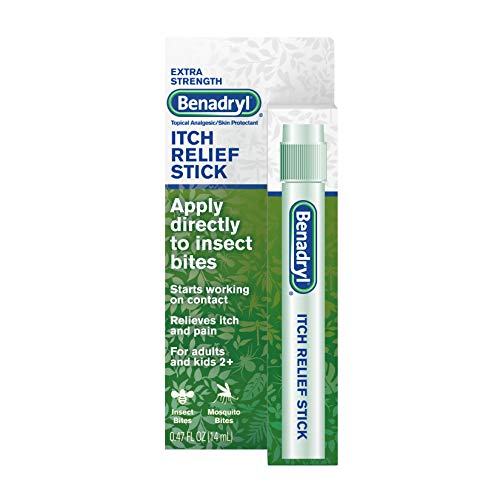 Benadryl Extra Strength Itch Relief Stick, Diphenhydramine HCL Topical Analgesic & Zinc Acetate to Relieve Skin Itching & Pain Associated with Insect Bites, Sunburn & More, 0.47 fl. oz
