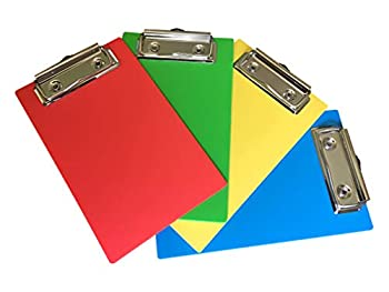 """Primo Factotum - Mini Clipboards - Red Yellow Green Blue - 4""""x 6""""  4 Pack"""