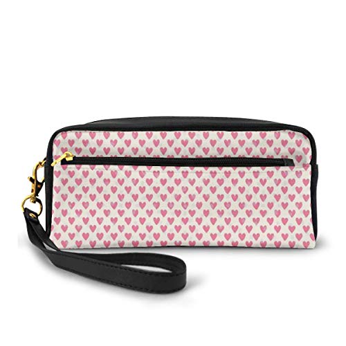 Pencil Case Pen Bag Pouch Stationary,Silhouette Polka Dots and Regularly Repeating Hearts on Beige Background,Small Makeup Bag Coin Purse