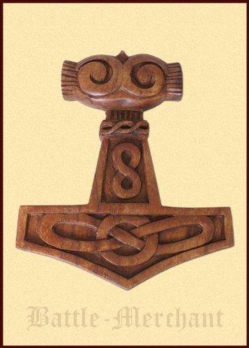 Thor martillo con Celta nudo de madera, tallado a mano señal - Vikingo