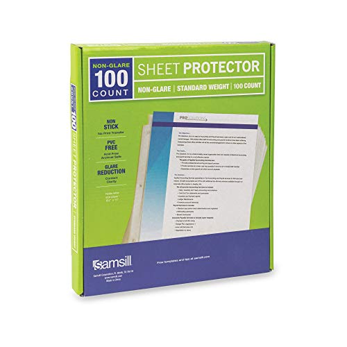 Samsill 100 Non-Glare Standard Weight Sheet Protectors, Reinforced 3 Hole Design Plastic Page Protectors, Archival Safe, Top Load for 8.5 x 11 Inch Sheets, Box of 100 (Renewed)
