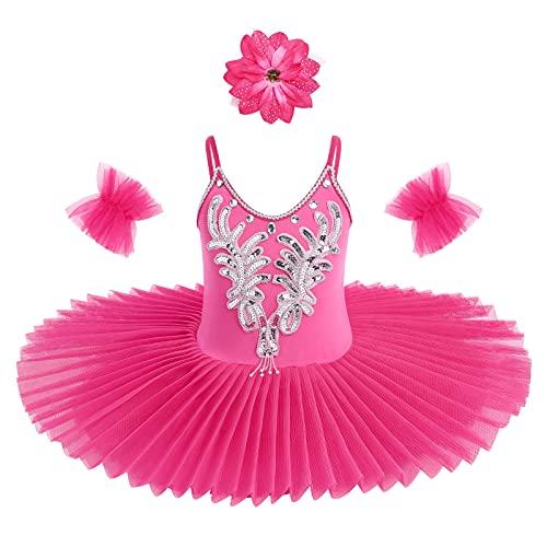 Vestido de Danza para Nia Maillot Ballet Lentejuela Leotardo Princesa Vestido Tut Patinaje Artistico Danza del Cisne Disfraz de Bailarina Traje Gimnasia con Pulseras Clip Rosa Caliente 5-6 Aos