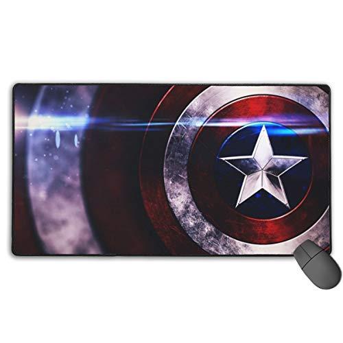 Captain America Avenger Superhero Shield Mousepad Non-Slip Rubber Electronic Sports Oversized Large Gaming Mouse Mat, Rectangular Mouse Pads 15.7 x 29.5 inch (40 x 75 cm)