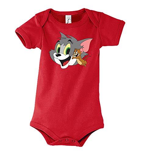 Youth Designz Jerry Tom Jerry - Body para niño y niña 6-18 Meses. Rojo 3-6 Meses