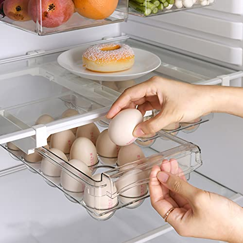 FUFRE Organizador de Cajones para Frigorífico con Asa Caja de Almacenamiento para Frigorífico Transparente, Cajón Frigorífico Congelador de Verduras y Frutas (Carton de Huevos)