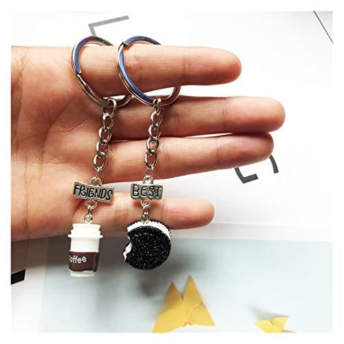 JSJJAWS Mode Schlüsselanhänger Neue 2 Stück/Satz von Mini-Oreo-Keksen und Kaffee Anhänger Keychain Geschenk-freundlichen Schlüsselring Taschenanhänger (Color : Style 1)