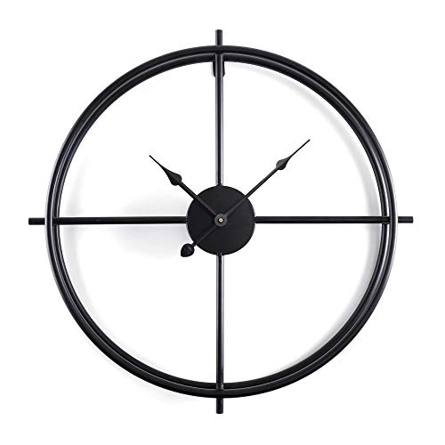LIUFUHAON Grote Vintage Stijl Metalen Wandklok Moderne Dubbele IJzeren Frame Mute Horloge Voor Familie Woonkamer Hotel-Black_50CM_Russisch_Federatie