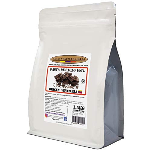Chocolate Negro Puro 100% - Origen Venezuela - Bolsa 1.5kg - (Pasta, Masa, Licor De Cacao 100%) - Cacao Venezuela Delta