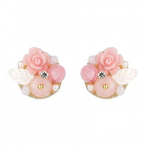 EGGofry oorbellen voor vrouwen met bloemen gevormde oorschelpen zijn mooie vrouwelijke parel sieraden oor nail natural stijl roze