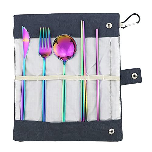 Bolsa de almacenamiento de rosas Conjunto de vajillas portátiles Conjunto de acero inoxidable Cuchillo Tenedor Cuchara Chopsticks Viaje de paja Camping BBQ Juego de vajillas