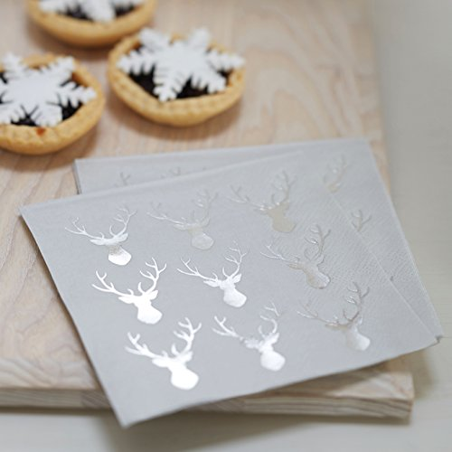 Ginger Ray Mini Silver Foiled Christmas Metallic Stag Paper Party Napkins 20 Pack