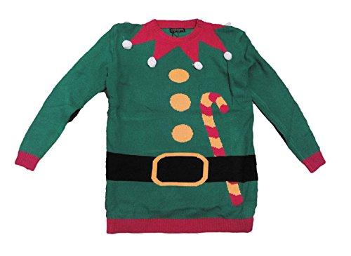 Homestreet Weihnachtspullover mit Weihnachtself, Zuckerstangen-Gürtel, verschiedene Designs, Unisex (XL)