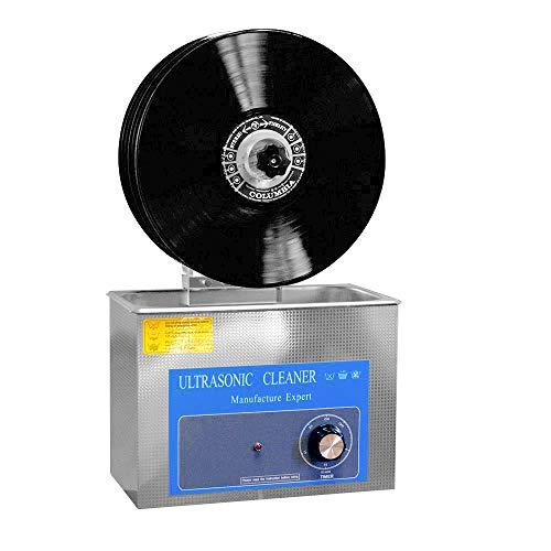 Limpiador ultrasónico para discos de vinilo LP, limpieza de 1-6 discos de vinilo, limpieza profunda, 4L, función de sincronización digital, con soporte eléctrico