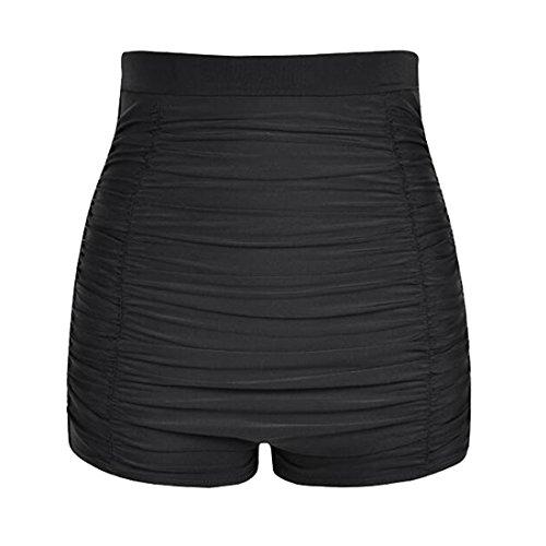LA ORCHID Laorchid Damen Frauen hoher Taille Bikini Hose Shorts Bauchweg Boyleg Stil, Schwarz, M