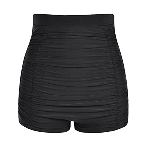 LA ORCHID Laorchid Damen Frauen hoher Taille Bikini Hose Shorts Bauchweg Boyleg Stil , Schwarz, L