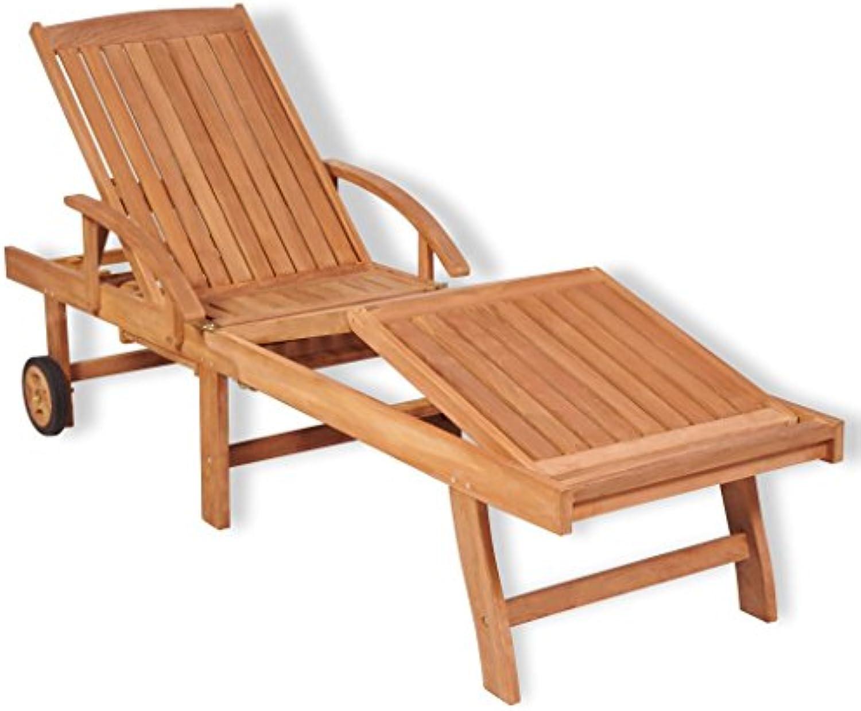 Festnight- Sonnenliege Relaxliege Holzliege Teak mit Einem Ausziehbaren Tisch Verstellbar in 5 Positionen 195 x 59,5 x 35 cm