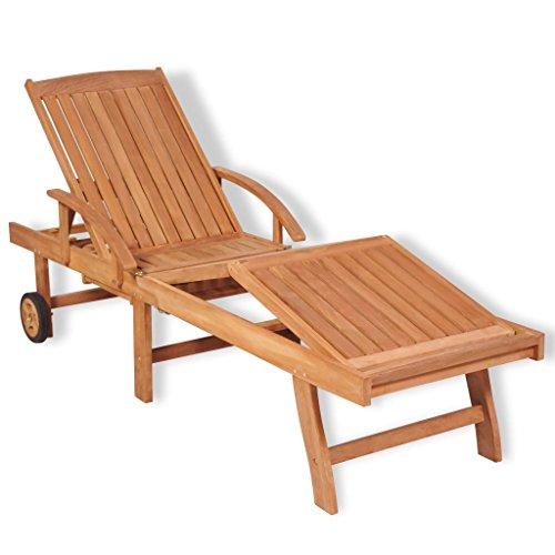 vidaXL Chaise Longue à 5 Positions 195x59,5x35 cm Teck Bain de Soleil de Jardin