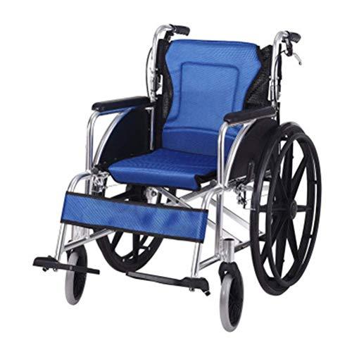WLD Silla de Ruedas Silla de Ruedas Plegable de Aleación de Aluminio con Frontal Y Trasero Frenos de Mano -8484Wheelchairs bandeja/Azul