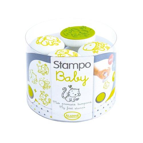 Aladine 55208 Stampo Baby Haustiere Spielset, 4 Stempel und 1 Stempelkissen, grün