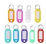 Rmeet Etiquetas con Llaveros Plástico,50 Pack Etiquetas de Colores Transparentes Llavero...
