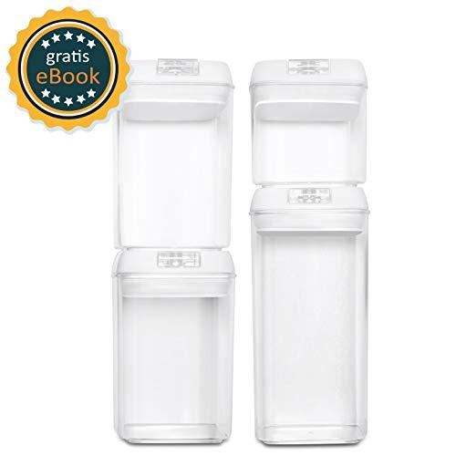 BASIL   Vakuum Vorratsdosen Set & Frischhaltedosen   4er-Set   BPA frei & spülmaschinengeeignet   luftdicht & wasserdicht   Aufbewahrungsdose & Vorratsbehälter mit Beschriftungsetikett