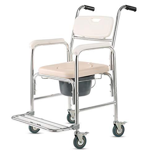 Silla de Transporte para duchas, Silla de Inodoro Junto a la Cama para Inodoro, Aluminio con Ruedas y Asiento Acolchado para discapacitados y Personas Mayores