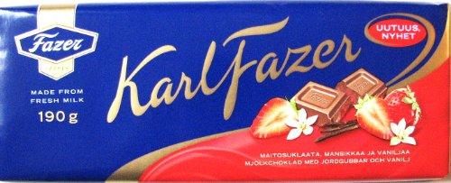Karl Fazer Schokolade mit Erdbeerstücken und Vanille, 190g -Sonderpreis MHD 08.03.2013