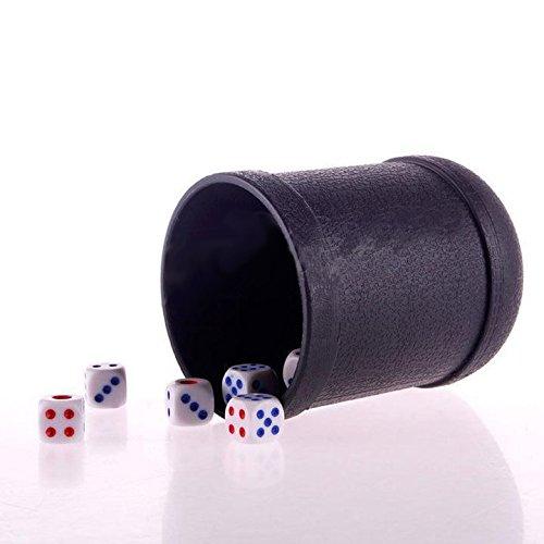 perfeclan Party Play Games Set Plastic Black Dice Cup Shot Shaker con 6 Piezas de Dados Puntuales