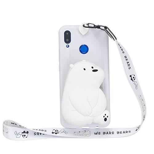 Miagon Silikon Hülle für Huawei P Smart 2019,3D Süß Brieftasche Lager Tasche Design mit Halskette Kordel Schnur Handykette Necklace Band,Weiß Bär