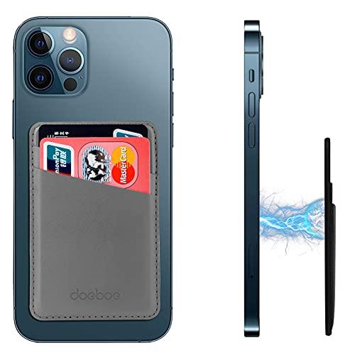 doeboe Compatibile con Magsafe Wallet iPhone 12 PRO Max, Portafogli magnetici per Carte di Credito per iPhone 12, in Pelle per iPhone 12 Mini PRO, Mag Safe Accessories (Grey)