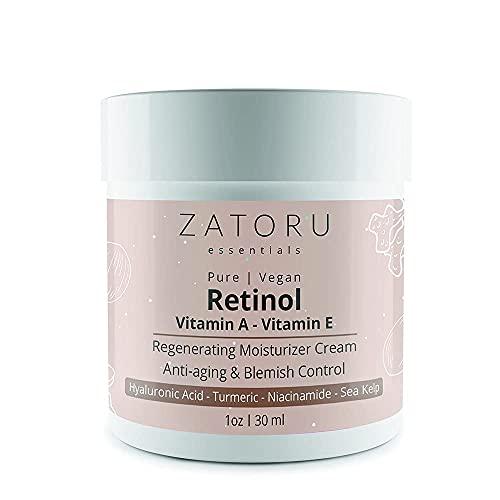 ZATORU ESSENTIALS - Retinol (Vitamin A) Cream - Packed with Pure Vitamin E, Hyaluronic Acid, Jojoba and Coconut Oil - Pro Formula for Blemish Control, Skin Regeneration & Minimizing Lines/Wrinkles