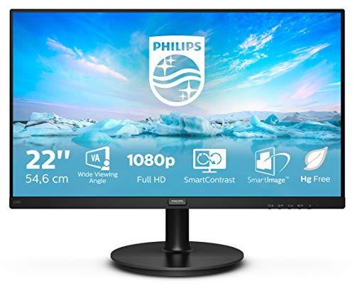 """Philips 220V8 Monitor 22"""" LED con Pannello VA, Full HD, 1920 x 1080, 4 ms, DVI, VGA, Attacco VESA, Nero"""