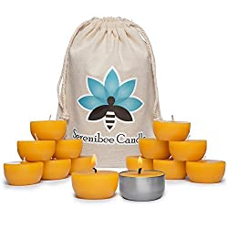 Beeswax Tea Lights Candles with One Reusable Steel Candle Holder and Reusable Cotton Bag