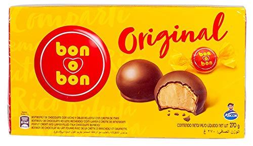 Bonbon de Cioccolato con Cialda Croccante e Ripieno di Crema di Arachidi, Argentina, Box 270g - ARCOR bon-o-bon Original - Bombones con Crema de Maní, 270g
