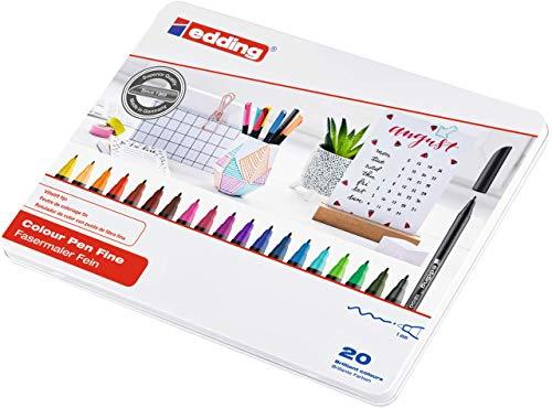 edding 1200 Fasermaler fein - Set mit 20 leuchtenden, bunten Farben - Rundspitze 1 mm - Filzstift zum Zeichnen und Schreiben - für Schule, Mandala