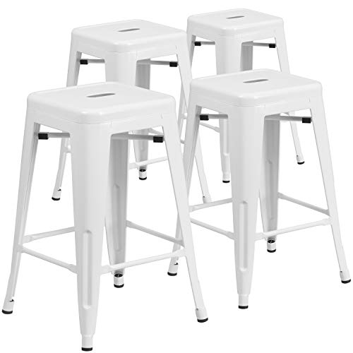 """Flash Furniture 4 Pk. Commercial Grade 24"""" High Backless White Metal Indoor-Outdoor Counter Height Stool with Square Seat"""
