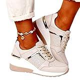 MIAOFA Zapatos de Verano para Mujer Zapatillas de Deporte de cuña con Cordones de Punta Redonda Adecuado para Tenis, Gimnasio, Correr, Ejercicio de Ocio, Mocasines,Beige,42