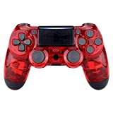 eXtremeRate Transparent Crystal Clear Red Front Housing Shell Faceplate Cover for PS4 Slim PS4 Pro Controller (CUH-ZCT2 JDM-040 JDM-050 JDM-055) - Controller NOT Included