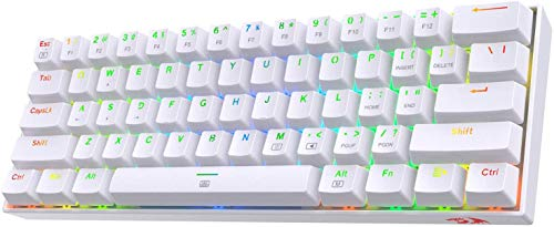 Redragon K630 Dragonborn 60% Wired RGB Gaming Keyboard, 61 Keys Compact Mechanical Keyboard with Tactile Blue Switch, Pro Driver Support, White