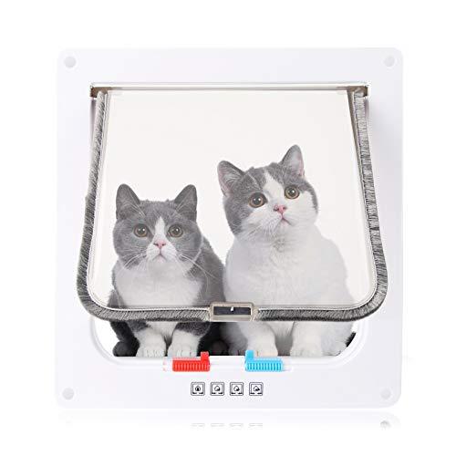 hausmelo Katzenklappe Hundeklappe Haustierklappe 4 Wege Verschlussarten 25 x 23,5 x 5,3 cm Groß, ABS Hundetür Katzentür Magnet mit Tunnel für Katzen Hunde, transparent und verschleißfest