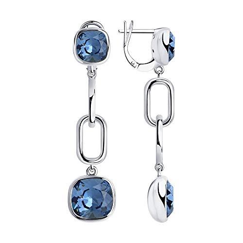 BEM Joyas: pendientes de plata 925 con cristales azules de Swarovski.