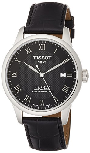 Tissot mens Le Locle Stainless Steel Dress Watch Black T0064071605300