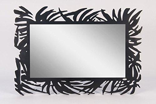 CVC- Specchio da Parete, Cornice Nera, Dettaglio Palme rintagliate. Estate Dimensione 120x82 cm. Made in Italy