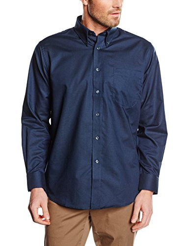 Fruit of the Loom Herren Oxford Long Sleeve Hemd, Navy, XXL