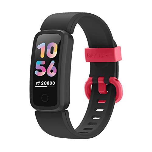 BIGGERFIVE VIGOR Montre Connectée Enfant Fille Garcon Femmes, Bracelet Connecté Cardio Podometre Smartwatch, Etanche IP68 Sport Fitness Tracker Activité Montre Intelligente pour Android iOS Smartphone