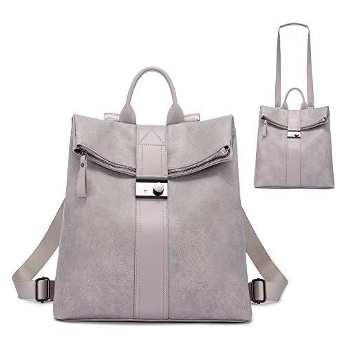 Realer Rucksack Damen, Elegant Rucksacktasche Rucksackhandtasche 2 in 1, Wasserdichte Handtasche als Rucksack Lederrucksack cityrucksack Schwarz Grau