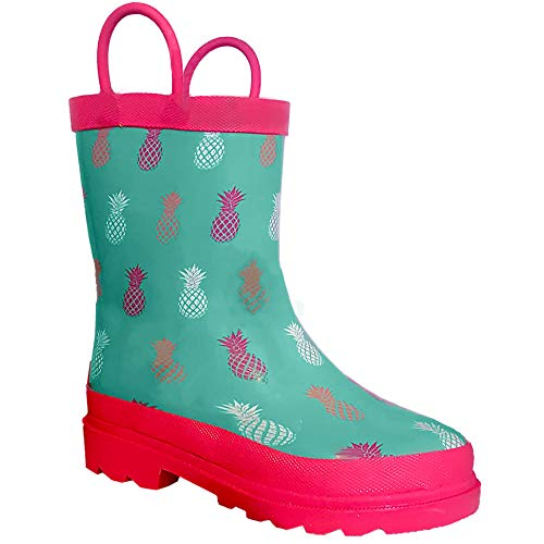 Lily & Dan Girl Waterproof Mint Green Pink Rain Boots for Toddler Girls Soft Pliable Rubber Light Weight Rain Boots w Soft Lining Pull Handles Rugged Outsole Toddler Size (Mint Pineapples)