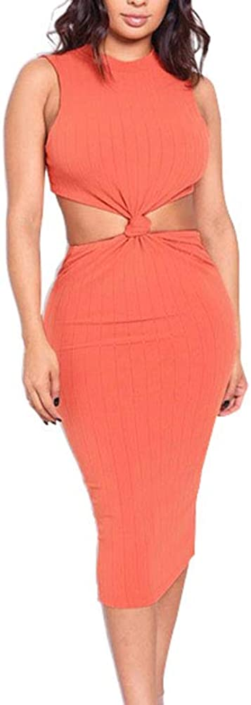 Club Dresses for Women- Sexy Bodycon SleevelessHollow Out Midi Black Tight Dress Jumpsuit