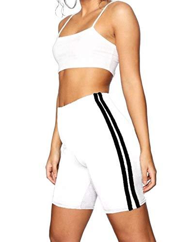 Islander Fashions Cuissard de Cyclisme pour Femmes � Double Rayures pour Femmes Sportswear Porter Un Pantalon Court Blanc Moyen/Grand
